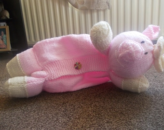 Hand knitted Pig Pyjama Case, pyjama case, hot water bottle cover, bed warmer, childrens gift, bedroom accessory