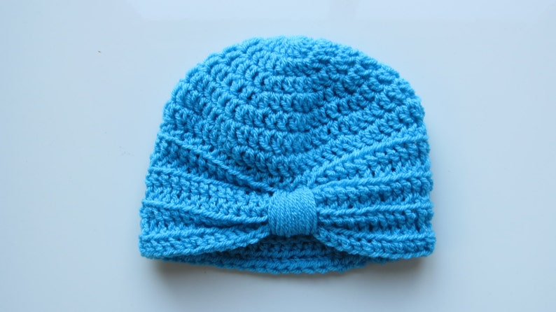 ed29d175f Handmade Crochet Baby Turban Style Hat in Turquoise Made to order, Many  Colours Available, great photo prop! Baby Gift, Baby Showers
