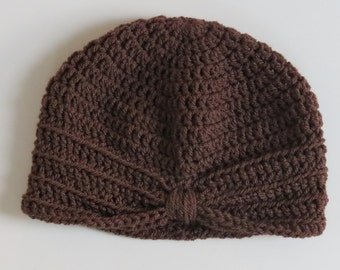 Handmade Crochet Baby Turban Style Hat in Walnut Made to order, Many Colours Available, great photo prop! Baby Gift, Baby Showers