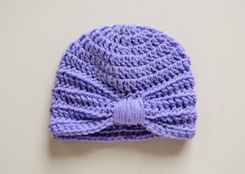 5d53fdd3f Handmade Crochet Baby Turban Style Hat in Wisteria (Purple), Made to  order,Many Colours Available, great photo prop! Baby Gift, Baby Showers