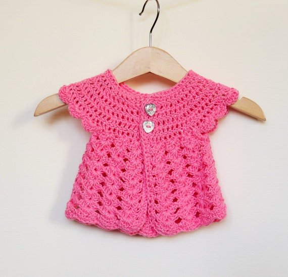 9684ecf52426 Handmade Crochet Premature Tiny Baby Girl Cardigan Sweater