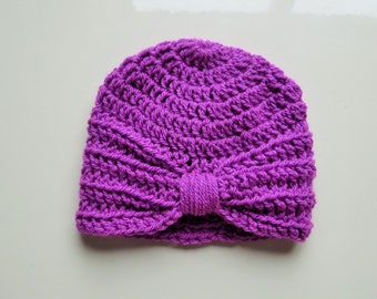 Handmade Crochet Baby Turban Style Hat in Magenta Made to order, Many Colours Available, great photo prop! Baby Gift, Baby Showers
