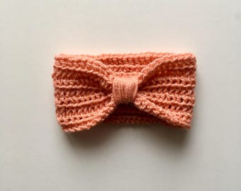 Handmade Crochet Baby Turban Style Headband in Vintage Peach Made to order, Many Colours Available, great photo prop Baby Gift, Baby Showers