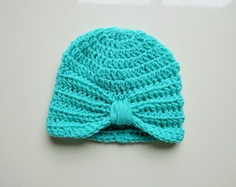 Handmade Crochet Baby Turban Style Hat in Aspen Made to order, Many Colours Available, great photo prop! Baby Gift, Baby Showers