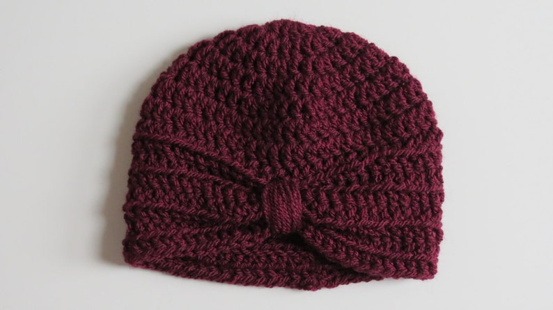 7793f24f4 Handmade Crochet Baby Turban Style Hat in Burgundy Made to order, Many  Colours Available, great photo prop! Baby Gift, Baby Showers