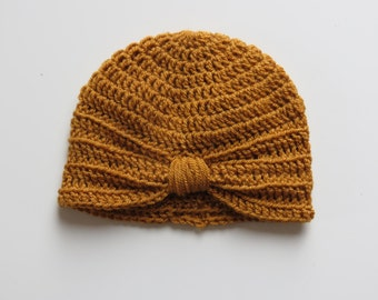 Handmade Crochet Baby Turban Style Hat in Mustard Made to order, Many Colours Available, great photo prop! Baby Gift, Baby Showers