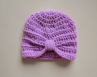 Handmade Crochet Baby Turban Style Hat in Clematis (lilac) Made to order, Many Colours Available, great photo prop! Baby Gift, Baby Showers