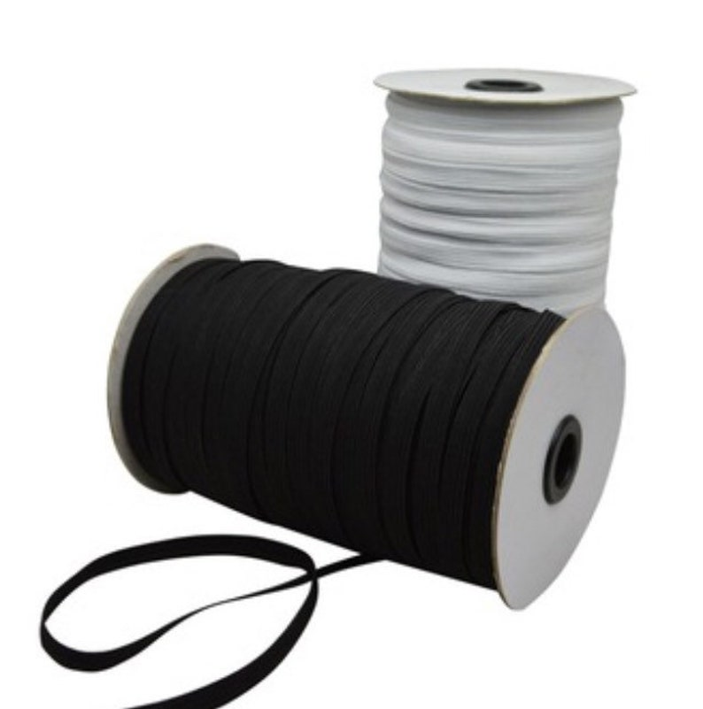 Flat Woven corded Elastic for  Cuffs Tailoring  /& Dressmaking in White /& Black
