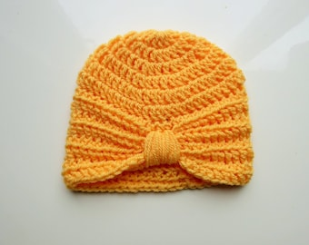 Handmade Crochet Baby Turban Style Hat in Saffron Made to order, Many Colours Available, great photo prop! Baby Gift, Baby Showers