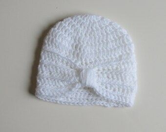 Handmade Crochet Baby Turban Style Hat in White Made to order, Many Colours Available, great photo prop! Baby Gift, Baby Showers
