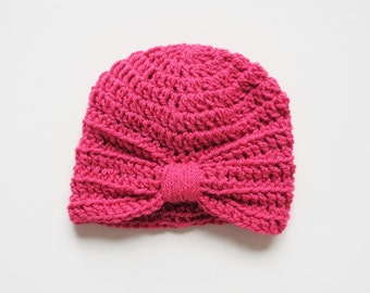 Handmade Crochet Baby Turban Style Hat in Pomegranate Made to order, Many Colours Available, great photo prop! Baby Gift, Baby Showers