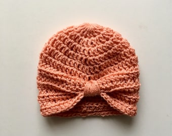 Handmade Crochet Baby Turban Style Hat in Vintage Peach Made to order, Many Colours Available, great photo prop! Baby Gift, Baby Showers