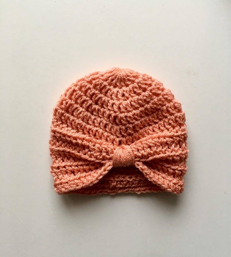 15975f28c Handmade Crochet Baby Turban Style Hat in Vintage Peach Made to order, Many  Colours Available, great photo prop! Baby Gift, Baby Showers