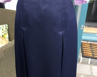 11c366c8e9a1e Vintage 80s Pleated Skirt - St Michael - Made in UK size 14 - Dark Navy Blue