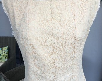 Vintage 60s Cream Lace Blouse by Jane Colton, Made in England