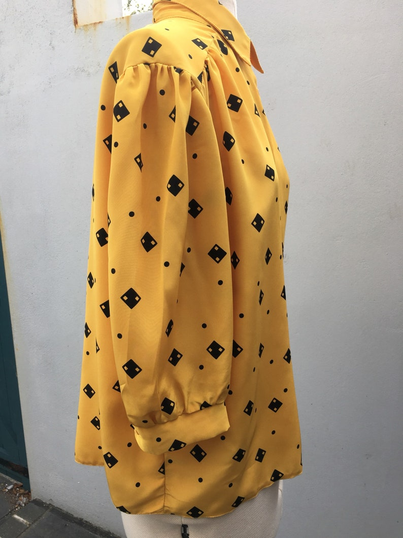 Vintage 80s Silky Polyester Secretary Blouse  UK14  Mustard Yellow with Black Domino pattern