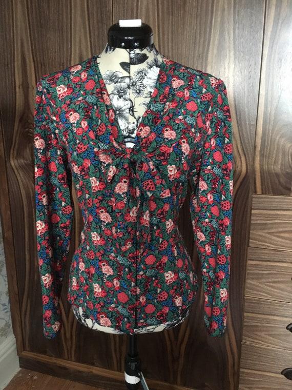 Vintage 80s St Michael Floral Shawl Blouse / Pussy