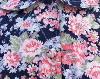 Vintage 80s Laura Ashley Floral blouse / Peter Pan collar / Made in Great Britain / UK14 / 100% Cotton