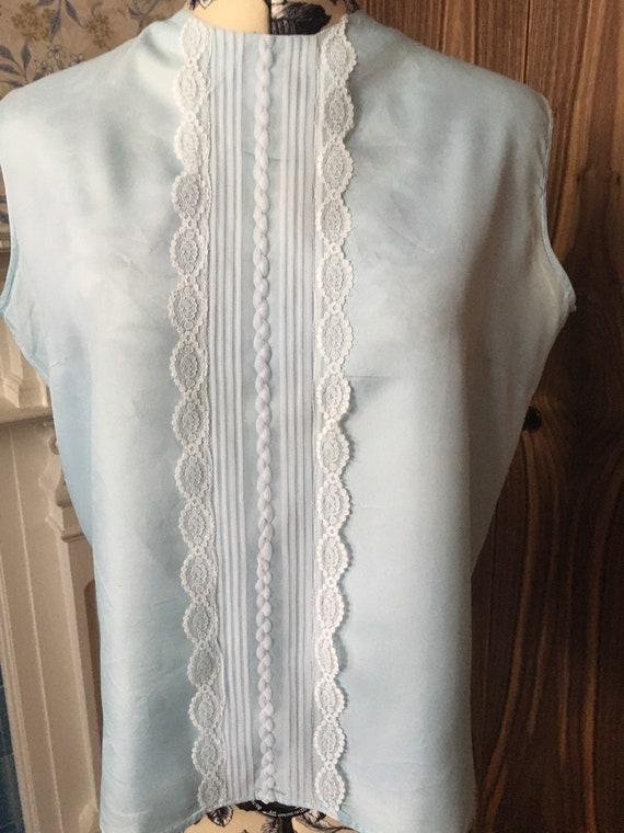 Vintage 60's Tricel Mod Blouse / Lace Front Panel