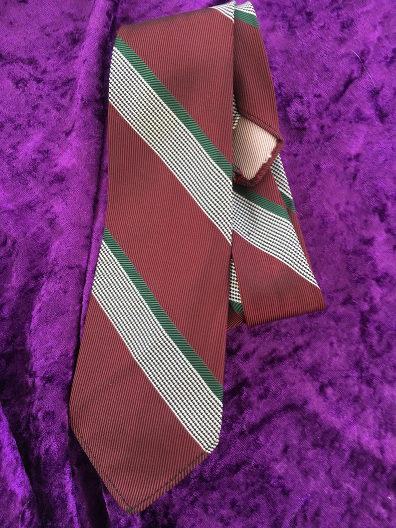 British Made Maroon and Gold School Equal Stripe Tie or Clip On Tie
