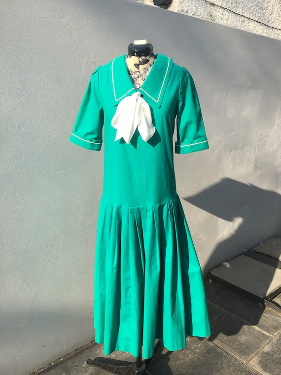 Vintage 80s Laura Ashley Edwardian Dress/ Sailor D