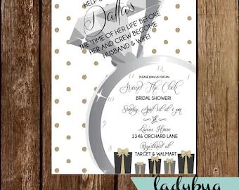 Around the clock bridal shower invitation printable gold around the clock bridal shower invitation filmwisefo