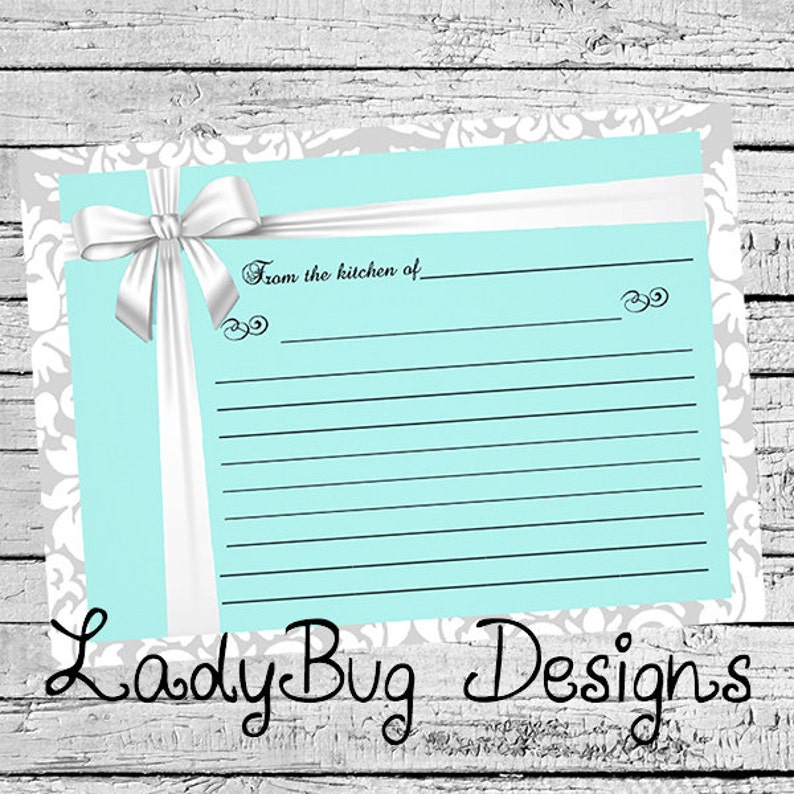 Bright Teal Style Recipe Card