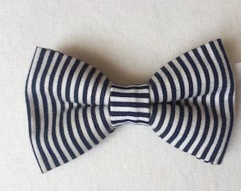 Blue and white stripes bowtie for men sailor navy
