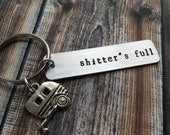 Hand Stamped Keychain quot shitter 39 s full quot - Christmas Gift - Christmas Vacation - Cousin Eddie - RV Shitters Full - PG 14 Keychain - RV Charm