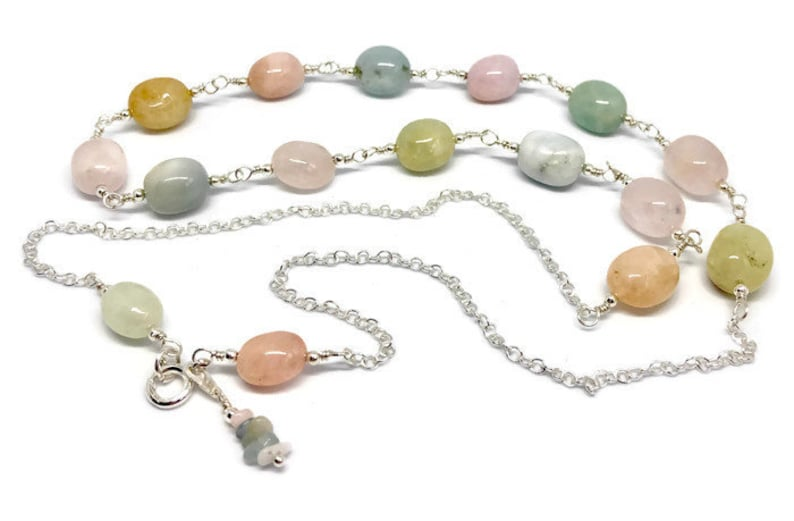 March Birthstone long necklace Aquamarine and Morganite necklace birthday gift Mother/'s Day gift sterling silver gift for her