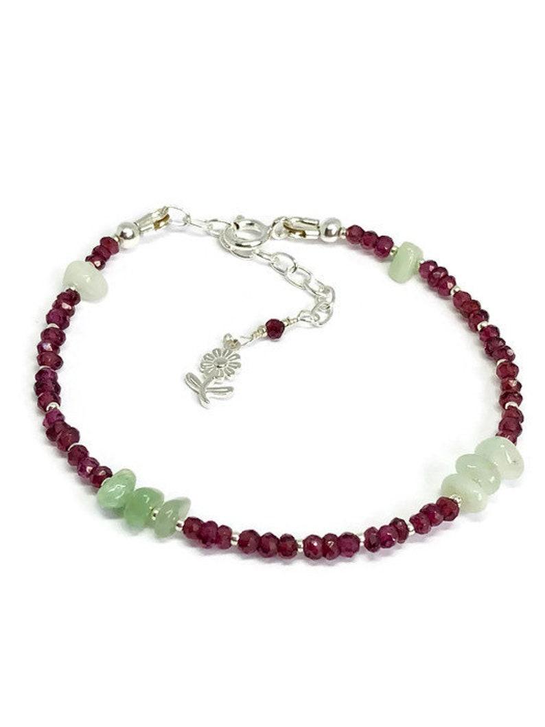mum gift gift for her 925 silver gemstone jewelry January birthstone garnet jewelry jadeite bracelet Garnet bracelet wife gift