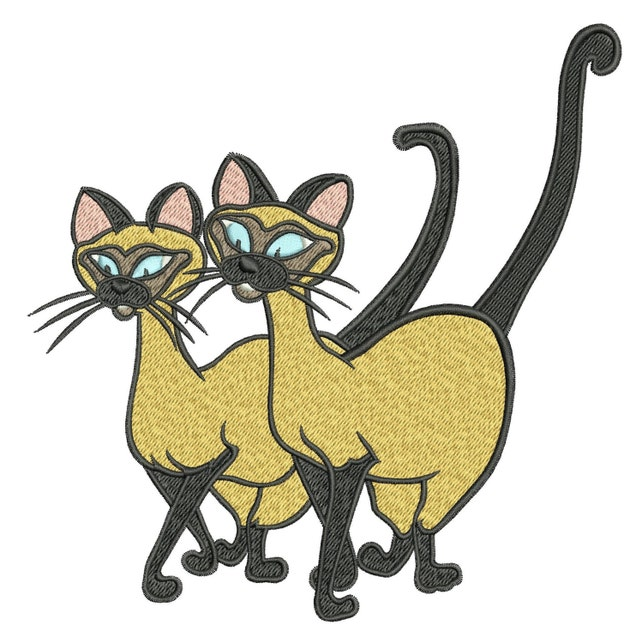 INSTANT DOWNLOAD Machine Embroidery Designs. Siamese cats.   Etsy