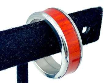 Red Heart Ring, Sizes 10, Stainless Steel Core, Exotic Wood Ring,Woodworker Gift, Guy Gift, Mens Rings, Woman's Rings, Wood Jewelry,