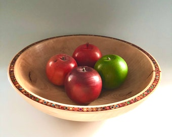 Handmade Beech Bowl - Colored Pencil Bowl - Decorative Wood Bowl - Colored Pencil Art - Table Centerpiece - One of a Kind - Gift For Artist