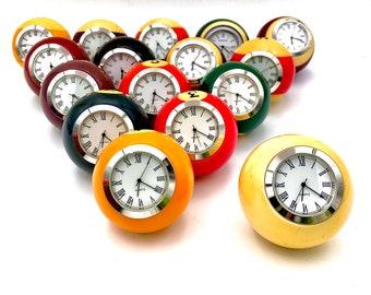Vintage Billiard Ball Clock, Desk Clock, Pool Ball Clock, Desk Accessory, Guy Gift, Lucky Number, Snooker Ball Clock