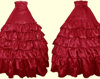 Red Satin Tiered Bustle Skirt - Ready To Ship