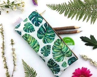 Tropical Leaves, Pencil Case, Emerald, Leaves, Cosmetic Bag, Tropical Pencil Case, Exotic Print, Pouch, Zipper Pouch, organiser, small bag