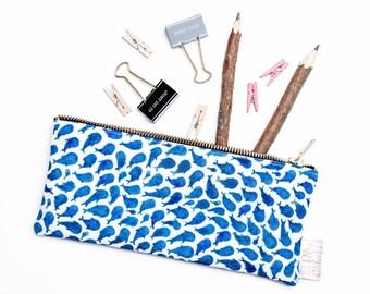 Pencil Case, Pencil Pouch, Make Up Bag, Blue, Whale, Pouch, Small Bag, Zipper Pouch, Bag, pencil bag, organiser, small bag,