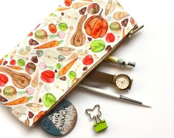 Pencil Case, Food Illustration, Pencil Pouch, Healthy, Pouch, Zipper Pouch, Bag, Cosmetic, pencil bag, cute pencil case, organiser, storage,