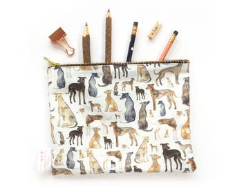 Greyhound, Sight Hound, Italian Greyhound, Whippet, Pencil Case, Greyhound Lover, Nappy Bag, Toiletries bag, Large Pencil Case, Cosmetic,