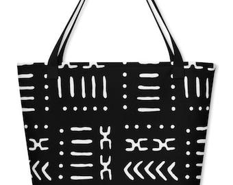 Black White Mud Cloth Pattern Large Beach Bag