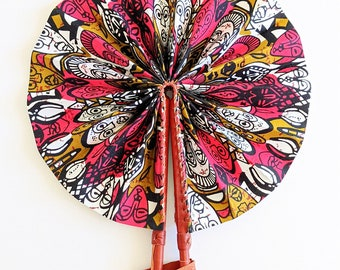 Pink Faces Ankara African Print Fabric Hand Fan Leather Handle