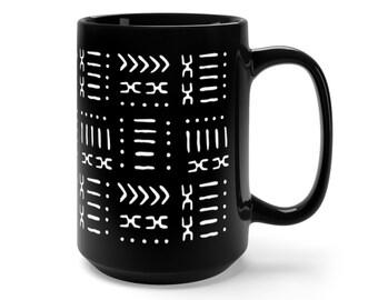 Black & White Mud Cloth Pattern Boho Tribal Coffee Mug 15oz