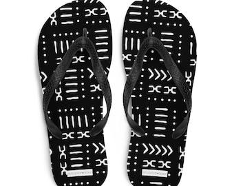 Black White Mud Cloth Pattern Flip-Flops