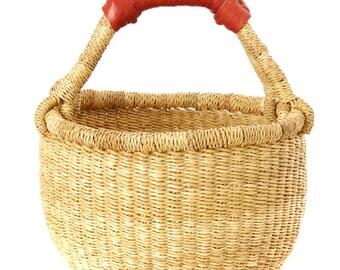 Natural Woven Bolga Basket   African Market Basket  Brown Leather Handle