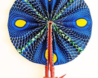 Blue Yellow Green Ankara African Print Fabric Hand Fan Leather Handle