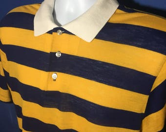 Vintage 1970s Stranger Things style striped collared polo t shirt Sears acrylic *M