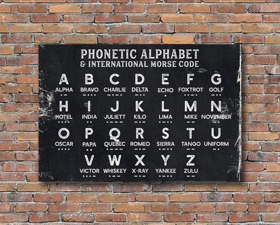 Phonetic Alphabet Art Nato Canvas Sign Alpha Bravo Charlie Etsy