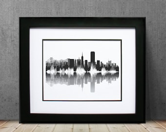 San Francisco Skyline Canvas - San Fran / Bay Area California Wall Art for Apartment, Home, Business, Office, and Bedroom - Bespoke Gift