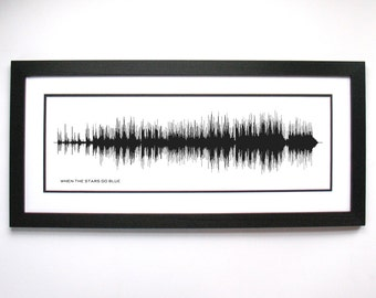 When The Stars Go Blue - Song Waveform Canvas - Black and White Music Decor, Song Art Print